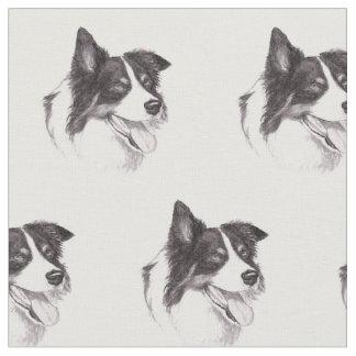 Border Collie Dog Art Fabric