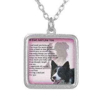 Border Collie Dog -  Dad Poem Silver Plated Necklace