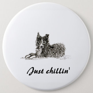 Border collie dog, just chillin' 6 cm round badge