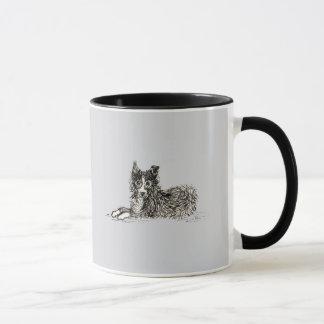 Border collie dog, just chillin' mug