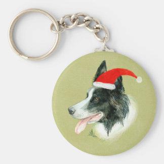 Border Collie Dog w Christmas Santa Hat Key Ring