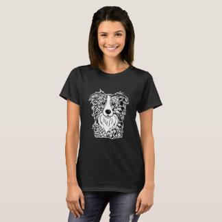 Border Collie Face Graphic Art T-Shirt