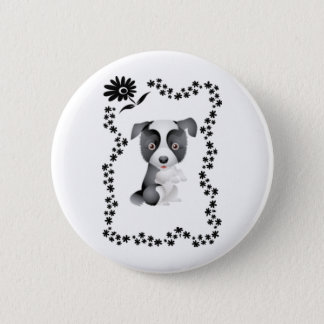 Border Collie Flowers 6 Cm Round Badge