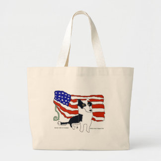 Border Collie for President Large Tote Bag