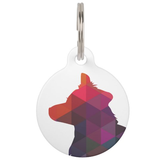 Border Collie Geometric Silhouette Multi Pet Tag