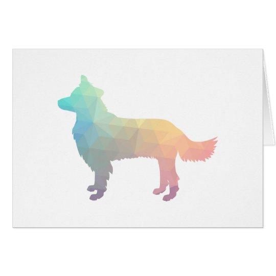 Border Collie Geometric Silhouette Pastel Card