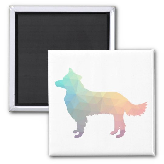Border Collie Geometric Silhouette Pastel Magnet