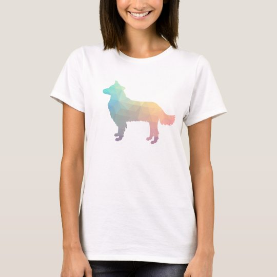 Border Collie Geometric Silhouette Pastel T-Shirt