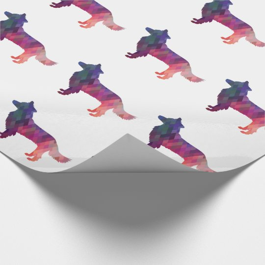 Border Collie Geometric Silhouette Pink Wrapping Paper