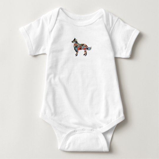 Border Collie Geometric Silhouette Plaid Baby Bodysuit