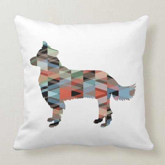 Border Collie Geometric Silhouette Plaid Cushion