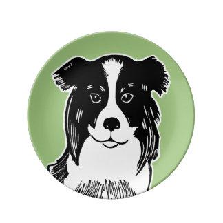 Border Collie Green Decorative Porcelain Plate