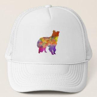 Border collie in watercolor trucker hat