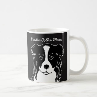 Border Collie Mom Black and White Mug