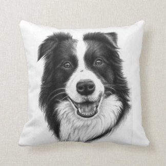 Border collie portrait cushion