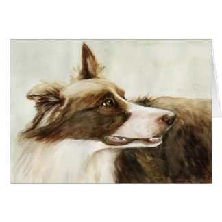 """Border Collie Profile"" Art Greeting Card"