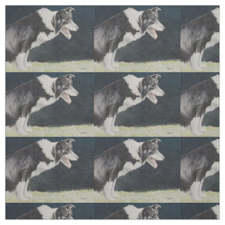Border Collie Profile Watercolor Dog Art Fabric