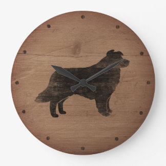 Border Collie Silhouette Rustic Style Large Clock