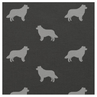Border Collie Silhouettes Pattern Fabric