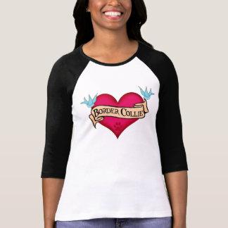Border Collie Tattoo Heart T-Shirt