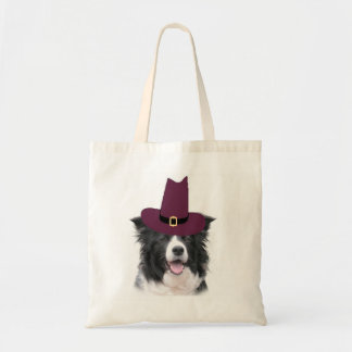 Border Collie Thanksgiving Tote~Pilgrim Budget Tote Bag