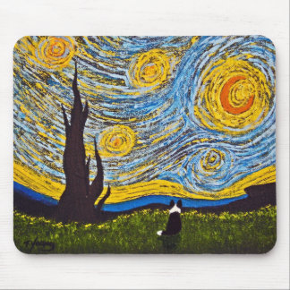 Border Collie Under a Van Gogh Sky Mouse Pad
