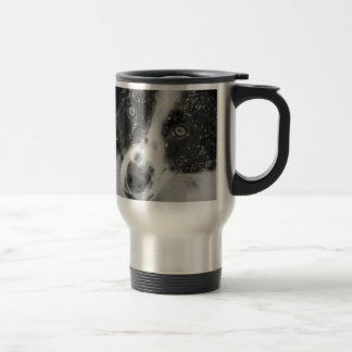 Border Collie's First Snow Travel Mug