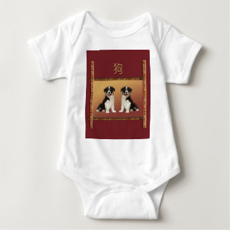 Border Collies on Asian Design Chinese New Year Baby Bodysuit