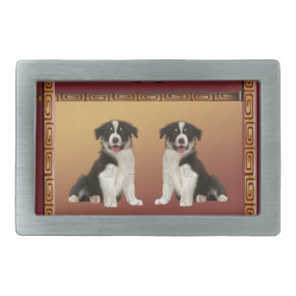 Border Collies on Asian Design Chinese New Year Belt Buckle