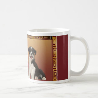 Border Collies on Asian Design Chinese New Year Coffee Mug