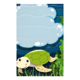 Border design with turtle underwater customised stationery