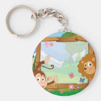 Border design with wild animals basic round button key ring
