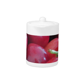 Border of fresh cherries on wooden background