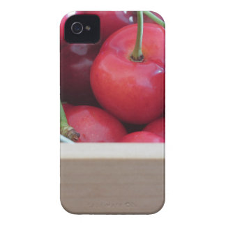 Border of fresh cherries on wooden background iPhone 4 Case-Mate case