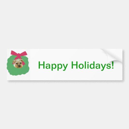 Border Terrier Christmas Wreath Bumper Stickers