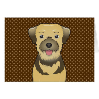 Border Terrier Dog Cartoon Paws Card