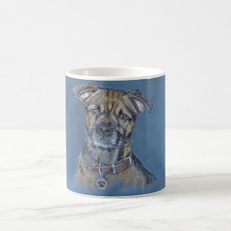 Border terrier dog portrait, pets painting coffee mug