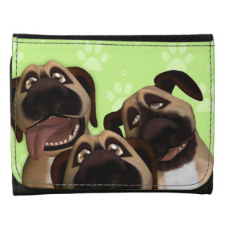 Border Terrier Dog Trio Black Small Leather Wallet