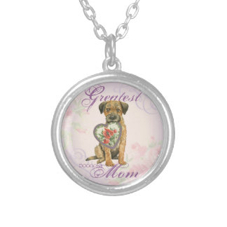 Border Terrier Heart Mom Silver Plated Necklace