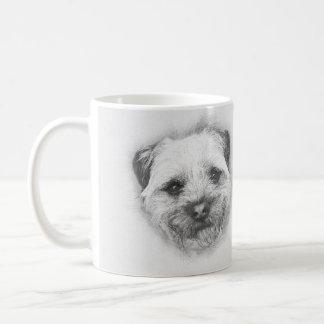 Border Terrier Pencil Sketch, Classic White Mug