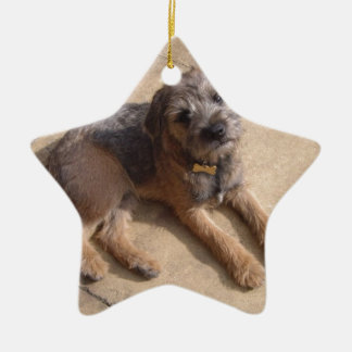 Border Terrier Puppy Christmas Tree Ornaments
