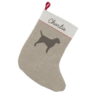 Border Terrier Silhouette with Custom Text Small Christmas Stocking