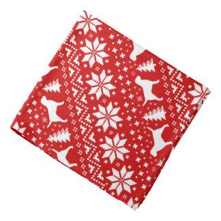 Border Terrier Silhouettes Christmas Pattern Red Bandana