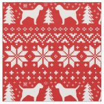Border Terrier Silhouettes Christmas Pattern Red Fabric