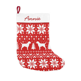 Border Terrier Silhouettes Pattern Small Christmas Stocking