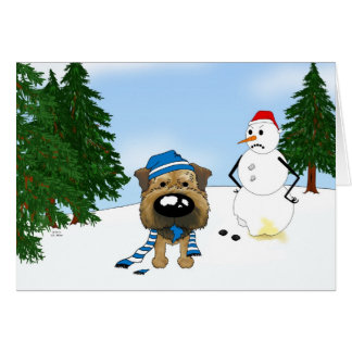 Border Terrier Winter Scene Card