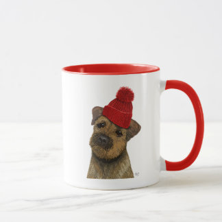 Border Terrier with Red Bobble Hat 3 Mug
