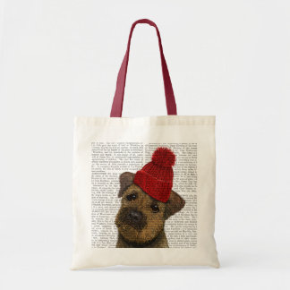 Border Terrier with Red Bobble Hat 3 Tote Bag