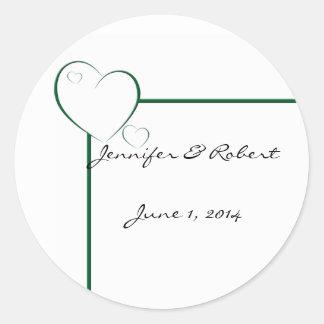 Bordered Hearts in Emerald Green Round Sticker