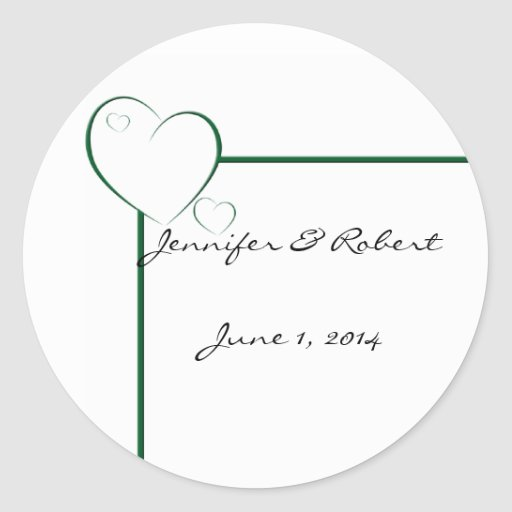 Bordered Hearts in Emerald Green Stickers